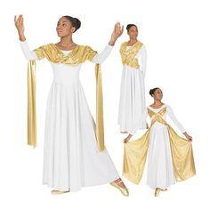 14124 Dance Dress w/attached Metallic Drape/Sash Overlay $54.40