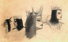 Sketches of the Evil Queen/Witch by Joe Grant.