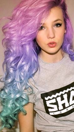 Curly Green, Blue, & Purple Hair✶ #Hairstyle #Colorful_Hair #Dyed_Hair