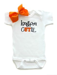 0f355fcf6 Girls Longhorn Cutie Onesie with Bow University of Texas Baby Clothing