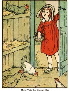 Old illustration, girl feeding chickens @Kerry Eady