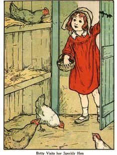 Old illustration, girl feeding chickens @Kerry Eady