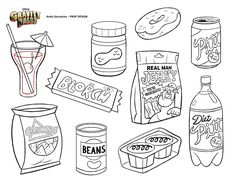 """Gravity Falls Prop Design - Andy Gonsalves.com - FOOD! Including Corncornos, Blorch Bar, Pitt Cola, and Real Man Jerky (""""You're Inadequate!"""")"""