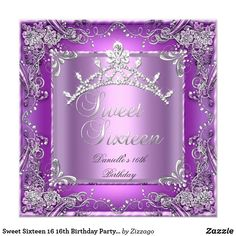 Sweet Sixteen 16 16th Birthday Party Purple Card Sweet Sixteen 16 Birthday Party Purple Lilac Pink Silver Grey Lace Diamond tiara. Elegant Classy All Occasion Just change age. Party birthday invites Template