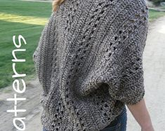 ** THIS LISTING IS FOR THE CROCHET PATTERN AND NOT THE FINISHED SHRUG. **  * NEW!* 3 Patterns for just $10. Click here - https://www.etsy.com/listing/207565195/discount-sale-any-3-pdf-crochet-patterns  Easy pattern with no shaping! Cute and trendy, one-size-fits-all shrug goes great with any casual outfit or all dressed up. Red Heart Shimmer yarn provides subtle sparkles that make it go from office to evening. Perfect for chilly offices and folds up nicely into a backpack or carry-on for…