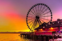Seattle ferris wheel at sunset - my view 5 days a week! Seattle Washington, Washington State, Vashon Island, Evergreen State, Photos, Pictures, Pacific Northwest, Places To See, Tourism