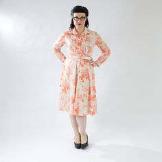 Sweet Vintage Floral Dress, Peach, Pink, Orange, Cream- Tuxedo Front, Belt, and Tie on Etsy, $25.00