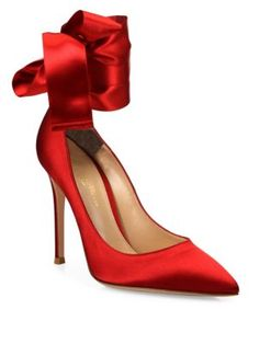 766502419f64 Gianvito Rossi - Gala Satin Ankle-Wrap Point Toe Pumps Red Pumps