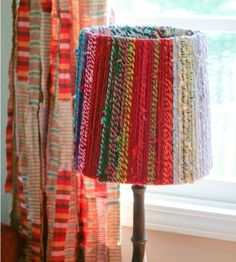 All you have to do is remove the old fabric and wrap the rope around the frame of the shade. Description from tipjunkie.com. I searched for this on bing.com/images