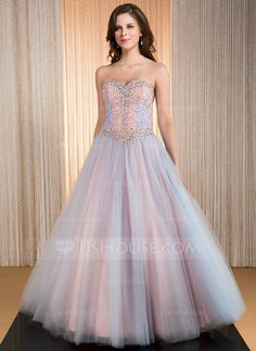Ball-Gown Sweetheart Floor-Length Taffeta Tulle Prom Dress With Beading Sequins (017041161) - JJsHouse