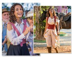 Maria Tereza (Camila Pitanga) suspensário rosa e ao lado vermelho figurino Velho Chico Segunda Fase