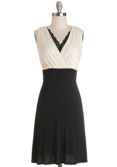 A Peek of Panache Dress - Tan / Cream, Black, Lace, Trim, A-line, Sleeveless, Good, V Neck, Knit, Mid-length, Party