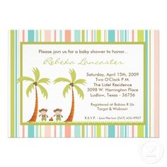Twin Luau Hawaii Monkey Baby Shower Invitation