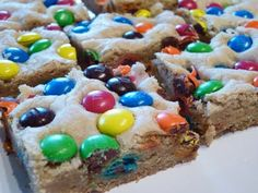 Thick and Chewy M M Cookie Bars. These are amazing, and so easy to make!