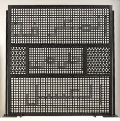 Knowledge is sweeter than honey. Susan Hefuna (2007). Sculpture, window-screen (mashrabiya), made of wood stained with black ink. Screen has outer frame and is divided internally into five 'windows'. Composed of numerous lathe-turned elements glued together to form geometric patterns. Further smaller elements are set within the three largest windows to form words in Arabic script.