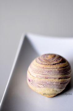 Flaky Swirl Mooncake with Purple Sweet Potato Filling