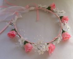 Heart and Rosebud Communion Floral Ribbon Crown by JLOSpecialties