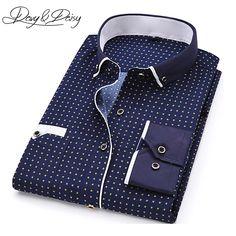 deb4432e271 DAVYDAISY High Quality Men Shirt Spring Long Sleeve Turn-Down Collar Dress  Polka Dot Print