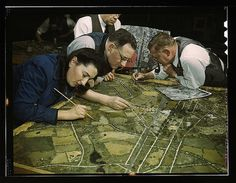Camouflage class in New York University, where men and women are preparin for jobs in the Army or in industry, New York, NY. They make models from aerial photographs, re-photograph them, then work out a camouflage scheme and make a final photograph. Collins, Marjory,, 1912-1985,, photographer. Library of Congress Photo.