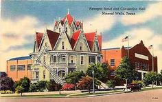 Mineral Wells Texas TX 1940s Hexagon Hotel Convention Hall Vintage Postcard