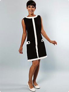 sporty black and white 1960s mod dress