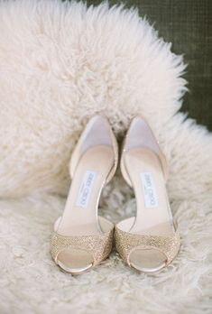 Brides.com: Stylish, Sparkly Wedding Shoes . Jimmy Choo Glitter Sandals. Wedding shoes with all-over embellishment are best worn with an ankle-length or short wedding dress. Otherwise, your gown may get snagged on the sparkle!  Browse more traditional wedding accessories.