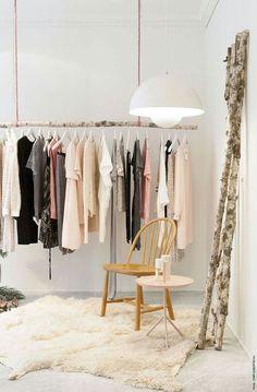 Ideas diy clothes rack hanging closet solutions for 2019 Hanging Clothes Racks, Diy Clothes Rack, Hanging Closet, Hanging Racks, Diy Hanging, Clothing Racks, Boutique Interior, Shop Interior Design, Interior Ideas