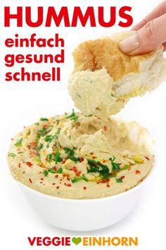 Hummus Rezept deutsch | Schnelles Rezept für Hummus mit Kichererbsen aus der Dose | Hummus selber machen | einfach gesund schnell vegan #VeggieEinhorn