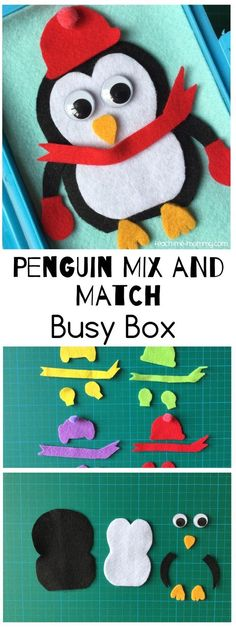 Remember all these fantastic felt-busy-box-ideen? I ' m adding to the collection every now and again, and today it is a Potpourri-and-Match-Penguin busy box! Again, I used a plastic mittagessen/snack box with flip lid( similar Preschool At Home, Preschool Learning, Preschool Winter, Learning Time, Preschool Classroom, Teaching, Winter Activities, Preschool Activities, Children Activities