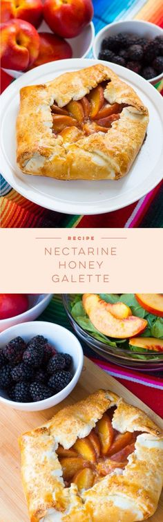 A super summer easy recipe for a Nectarine and Honey Galette. This galette is perfect for picnics, potlucks, and BBQs!