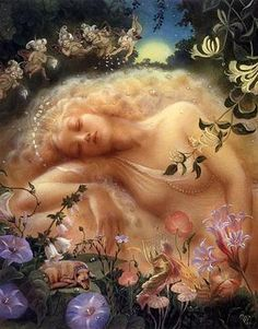 Kinuko Craft Titania Sleeping RARE Fairy Print Midsummer Nights Dream Duirwaigh | eBay
