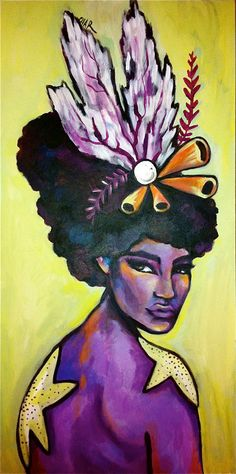 A variation on the afro mermaid. Love her anemone fascinator