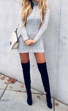 Stuart Weitzman boots/ grey sweater dress/ white chanel boy bag