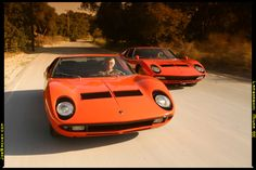 Lamborghini Miura P400, and Miura P400SV.  If I saw these 2 on the road together, I might faint.