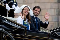 Prince Carl Philip of Sweden and Princess Sofia of Sweden during a carriage procession on Sweden's National Day celebrations on June 6 2016 in...
