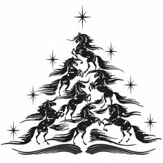Horse Christmas Tree Cuttable Design Cut File. Vector, Clipart ...