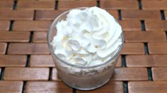 Low carb peanut butter mousse topped with whipped cream