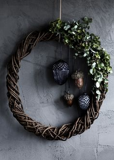 on the side wreath