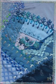 crazy quilting….beautiful blues!