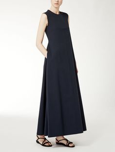 Cotton poplin dress in midnight blue