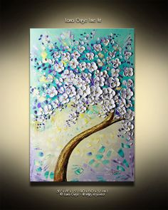 "36""  Original Tree Painting Large Textured White Cherry Blossom Tree Abstract Oil Painting by Lana Guise"