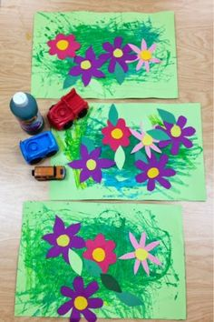 Kindergarten Gardens Inspired by Andy Warhol Our youngest learners enjoyed painting with a variety of painting tools including . K Crafts, Flower Crafts, Crafts For Kids, Elementary Art Lesson Plans, Kindergarten Art Lessons, Spring Art, Spring Theme, School Art Projects, Art Activities