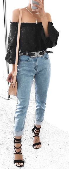 ootd off shoulder top + heels + jeans + bag