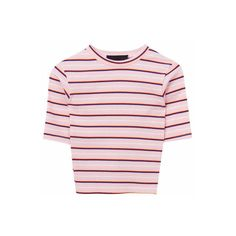 Cropped Stripe Pattern T-Shirt ($2) ❤ liked on Polyvore featuring tops, t-shirts, striped tee, round neck t shirts, short sleeve t shirt, short sleeve crop top and stripe tee