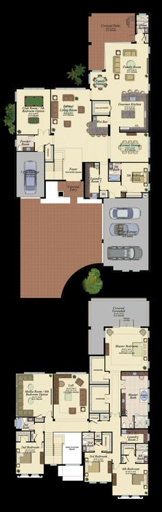Luxury New Homes in Delray Beach Dream House Plans, House Floor Plans, My Dream Home, House Blueprints, Sims House, Home Design Plans, Architecture Plan, House Layouts, Future House