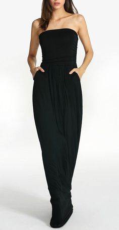 black strapless pockets maxi dress
