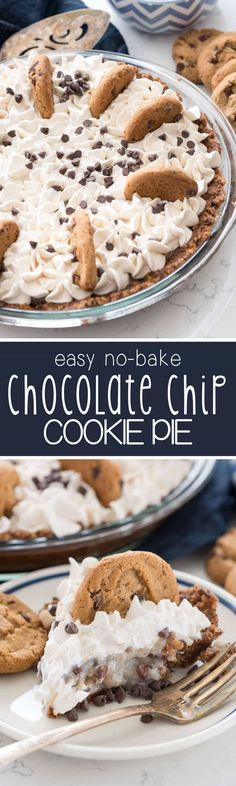 No Bake Chocolate Chip Cookie Pudding Pie - this pie has an easy no bake chocolate chip cookie crust and is filled with pudding and more cookies! My family loved this pie! (easy chocolate chip cookies no eggs) Yummy Treats, Sweet Treats, Yummy Food, Pavlova, Chocolate Chip Cookies, Chocolate Cupcakes, Baking Chocolate, Chocolate Muffins, Chocolate Cream
