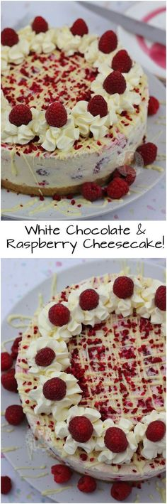 White Chocolate & Raspberry Cheesecake!! A Buttery Biscuit Base, White Chocolate & Raspberry Cheesecake Filling, with Fresh Cream, White Chocolate Drizzle and even more Raspberry!