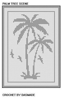 Palm tree scene filet crochet doily afghan pattern by dasmade