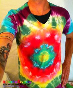 Tie Dye Tshirt  Vneck  Blue Lotus  100 by RainbowEffectsTieDye, $12.50